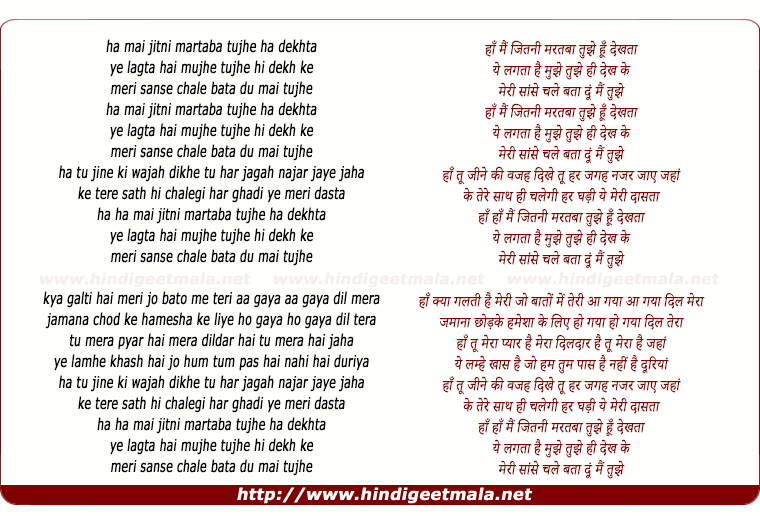 lyrics of song Haan Main Jitni Martaba (Remix)
