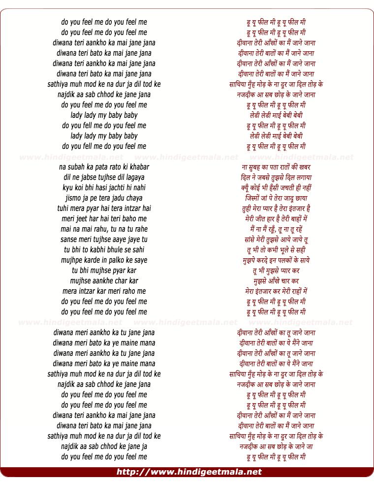 lyrics of song Diwana Teri Aankho Ka Mai Diwana