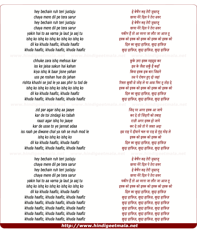 lyrics of song Khuda Haafiz (Remix)