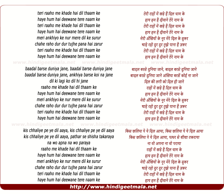 lyrics of song Teri Raho Me Khade Hai