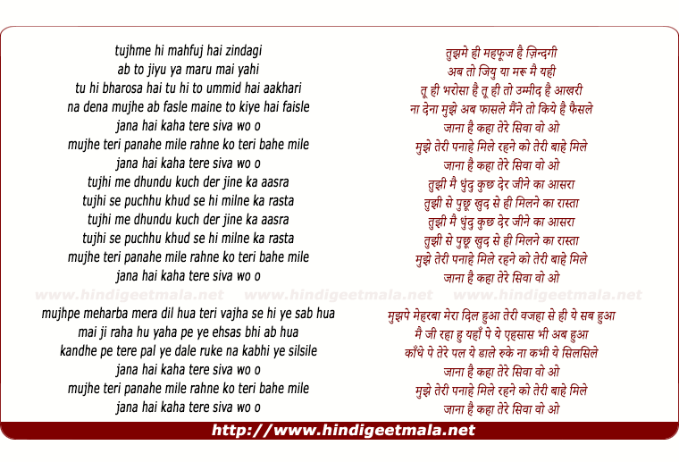 lyrics of song Tujhi Me Dhundu (Reprise)