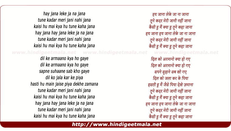 lyrics of song Hai Jaana Le Ke Jana Jana