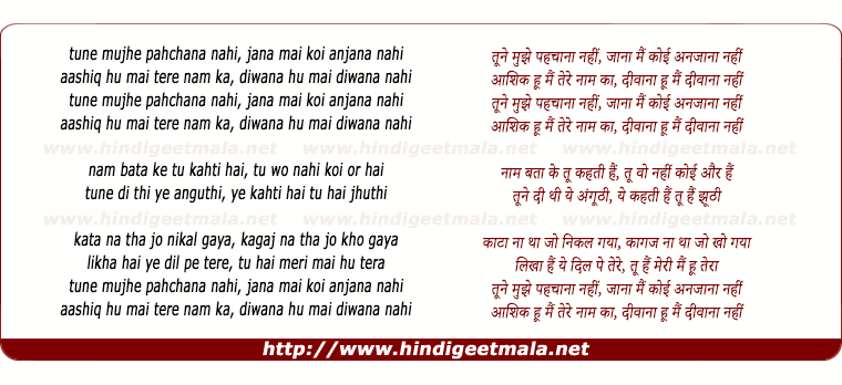 lyrics of song Tune Mujhe Pehchana Nahi