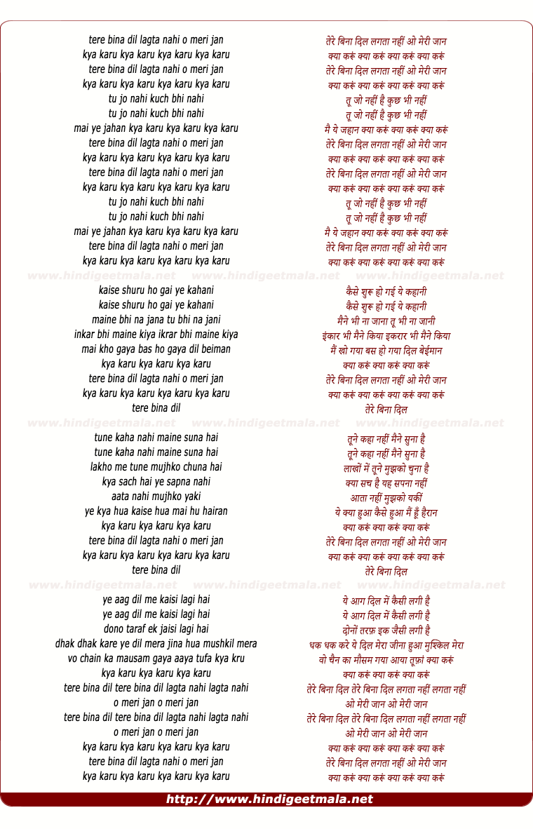 lyrics of song Tere Bina Dil Lagta Nahi