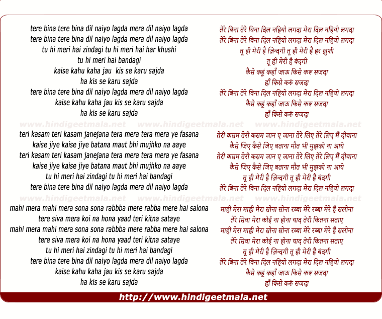 Tere bina dil naiyo lagda lyrics