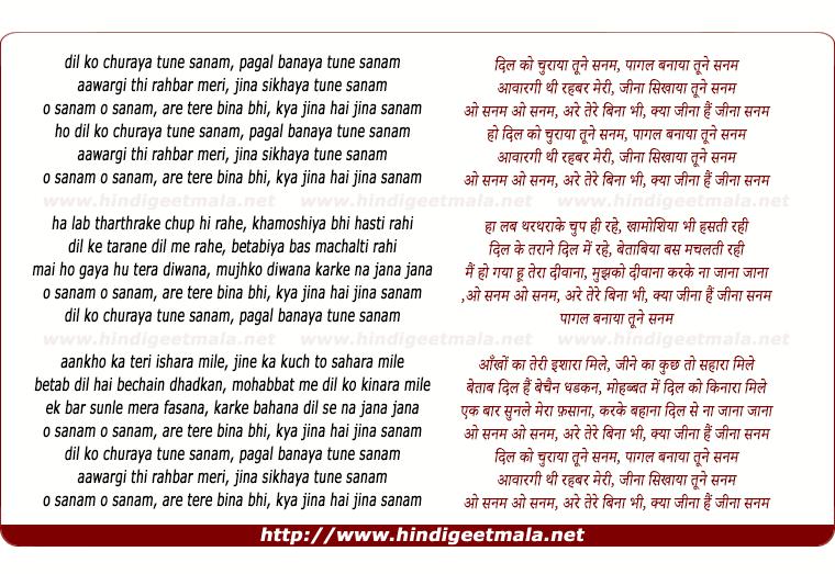 lyrics of song Dil Ko Churaya Tumne Sanam