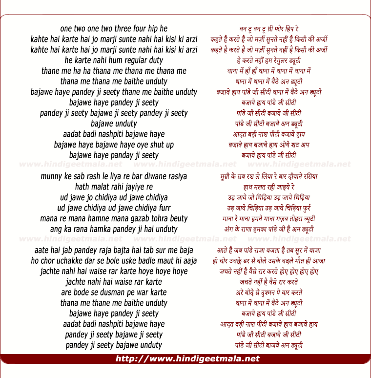 lyrics of song Pandeyjee Seeti (Remix)