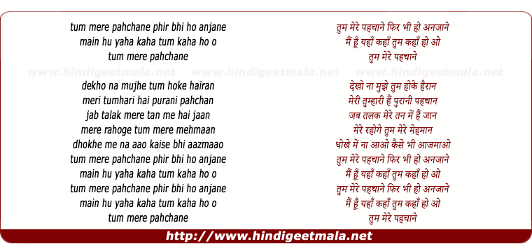 lyrics of song Tum Mere Pehchane Phir Bhi Ho Anjaane