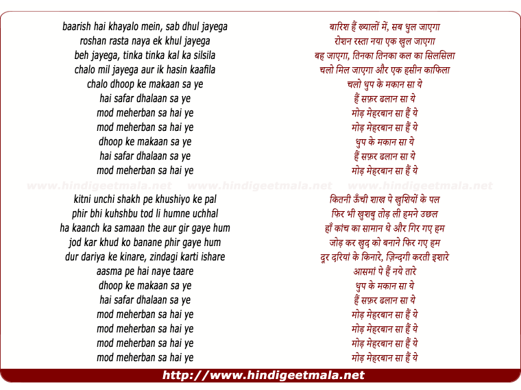 lyrics of song Dhup Kee Makan (Acoustic)