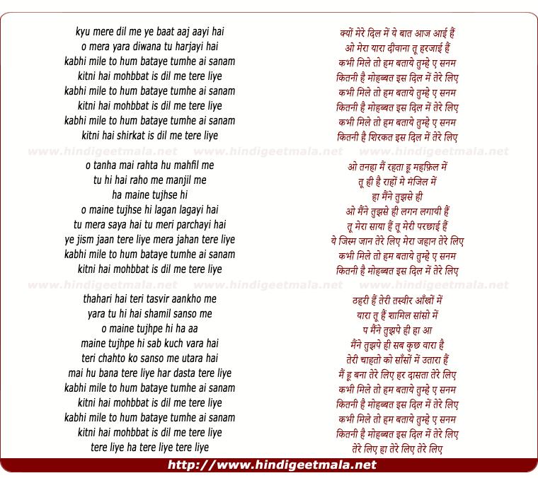 Tu Mera Hai Sanam Song Download: Kabhi Mile To Hum Bataye, Tere Liye (Remix)