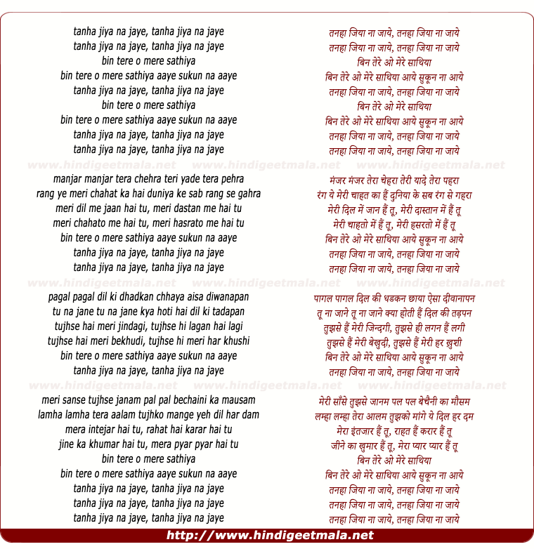 lyrics of song Tanha Jiya Na Jaye (Remix)