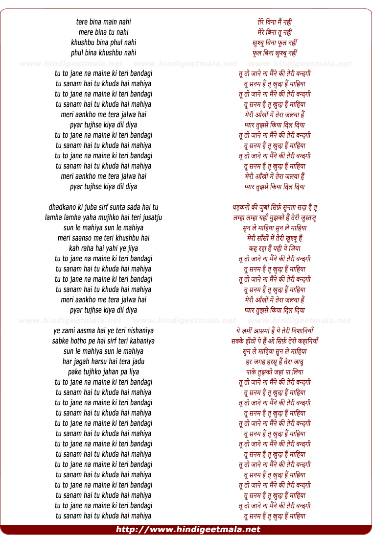 lyrics of song Tere Bina Mai Nahi (Mahiya)