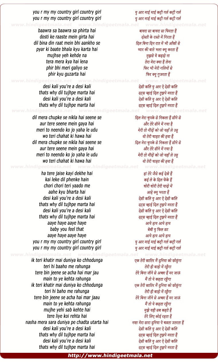 lyrics of song Desi Kali (Remix)