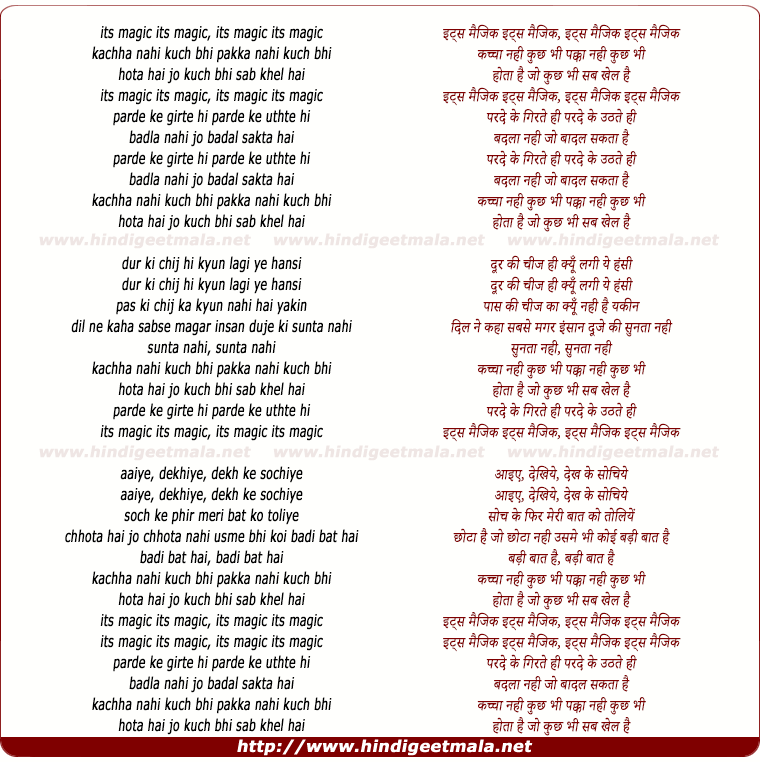 lyrics of song Its Magic