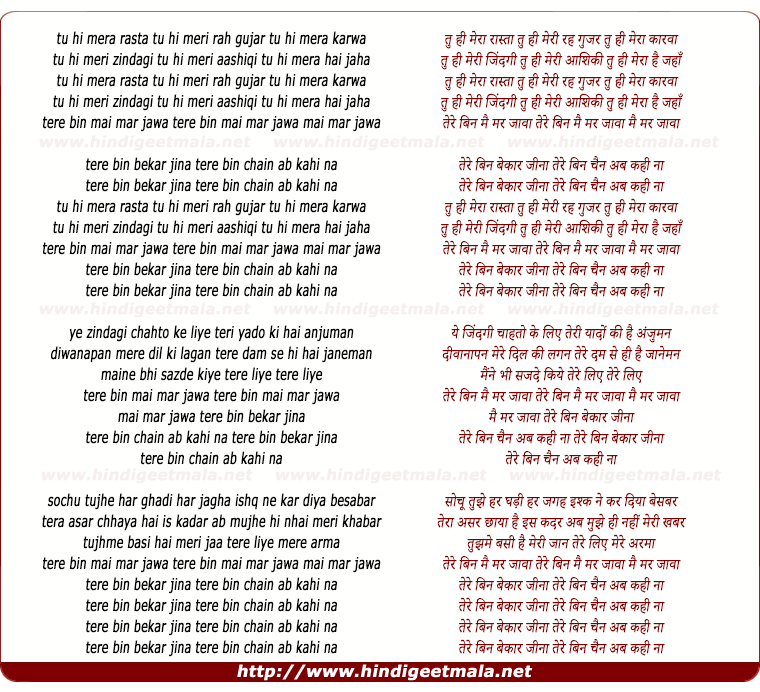 lyrics of song Tu Hi Mera