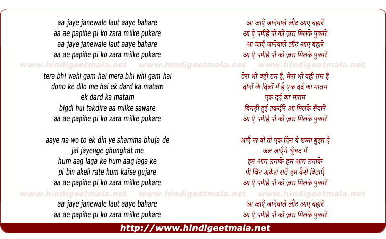 lyrics of song Aa Jaye Jane Wale