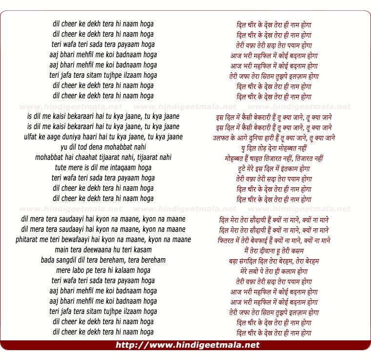 lyrics of song Dil Chir Ke Dekh