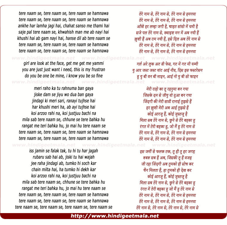 lyrics of song Tere Naam Se (Remix)