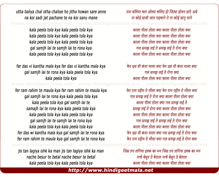 lyrics of song Kaala Peela Dhola Kya