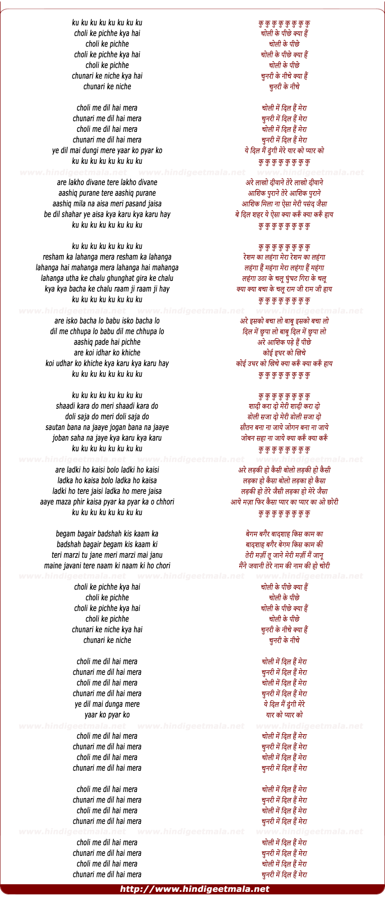 lyrics of song Choli Ke Pichhe Kya Hai (Male)