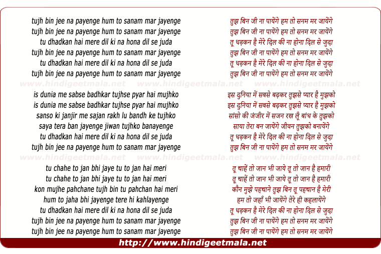 lyrics of song Tujh Bin Ji Na Payenge Hum To Sanam Mar Jayenge