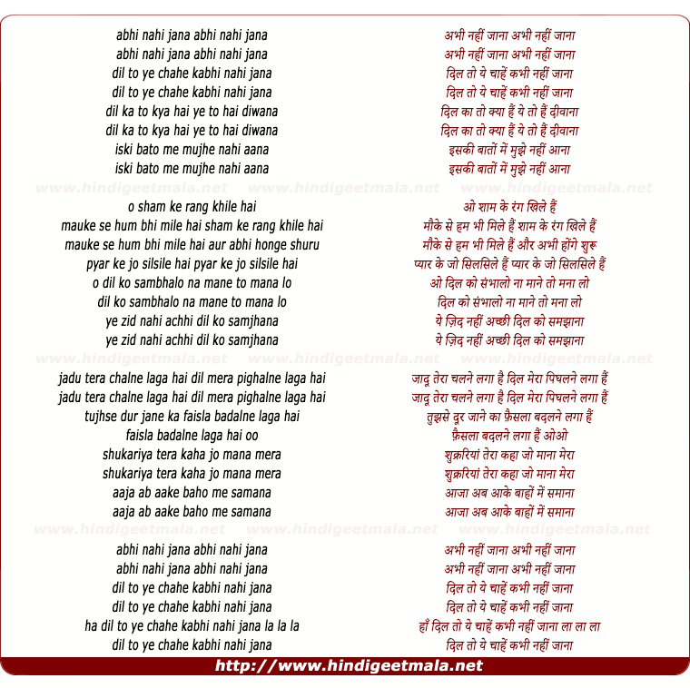 lyrics of song Abhi Nahi Jana