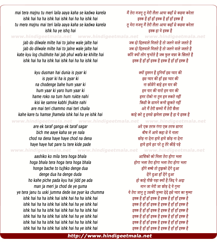 lyrics of song Mai Tera Majnu Tu Meri Laila
