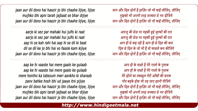 lyrics of song Jaan Aur Dil Dono Hai Haazir