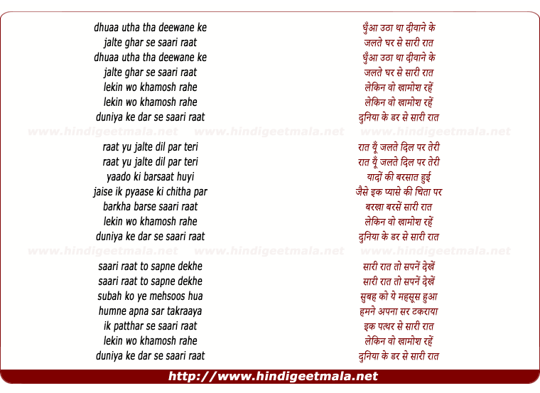 lyrics of song Dhua Utha Tha Diwane Ke Jalte Ghar Se