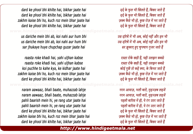lyrics of song Dard Ke Phool Bhi Khilte Hai