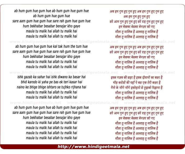 lyrics of song Ab Ham Ghum Huye (Maula Tu Malik Hai)