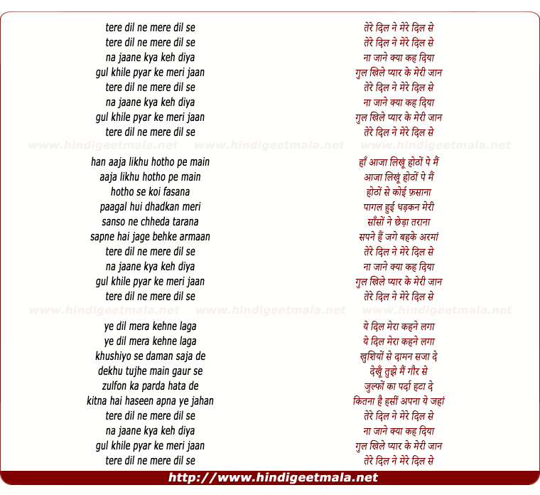 lyrics of song Tere Dil Ne (Hadh)
