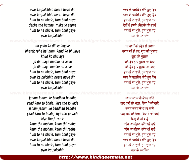 lyrics of song Pyar Ke Pal Chin Bite Hue Din Ham To Na Bhoole (Male))