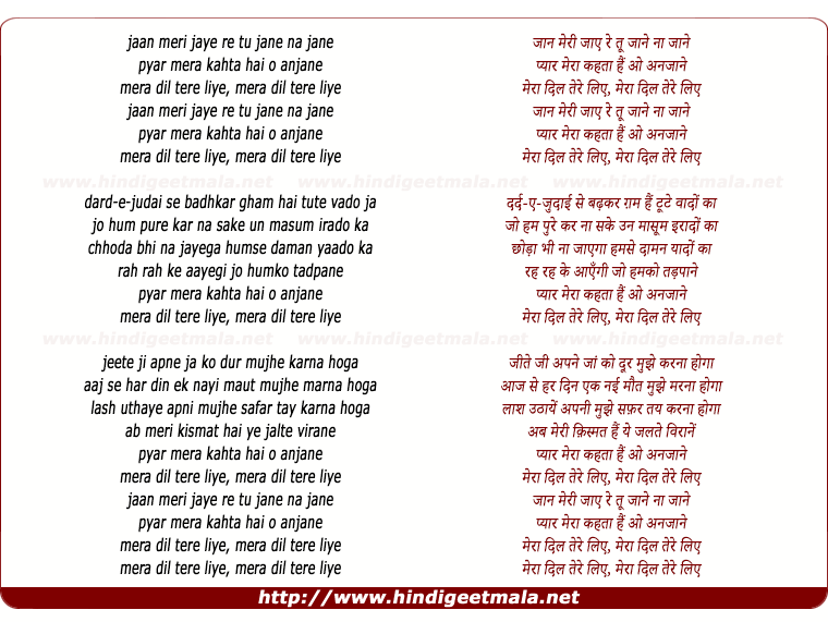 lyrics of song Meraa Dil Tere Liye