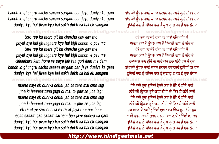 lyrics of song Bandh Lo Ghungru Nacho Sanam