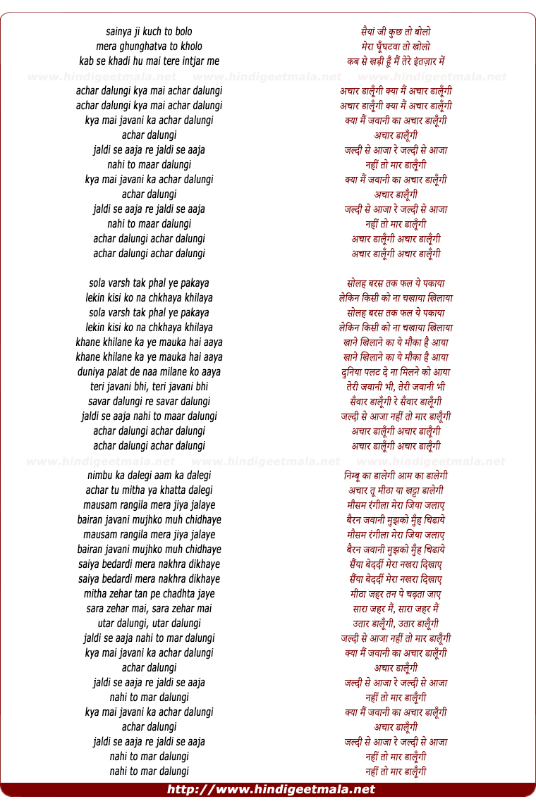 lyrics of song Jawani Ka Aachar Dalungi