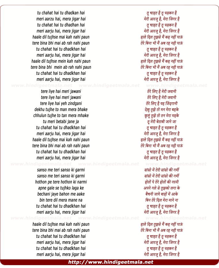 lyrics of song Tu Chahat Hai Tu Dhadkhan Hai