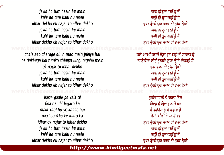 lyrics of song Jawa Ho Tum Hasin Hu Mai