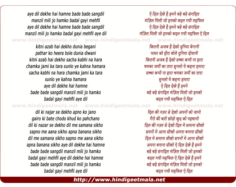 lyrics of song Ae Dil Dekhe Hai Humne