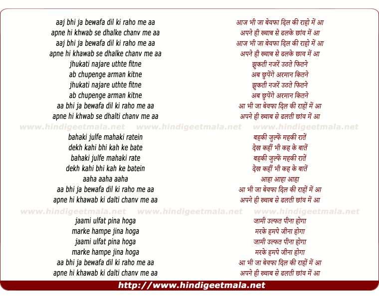 lyrics of song Aa Bhi Ja Bewafa