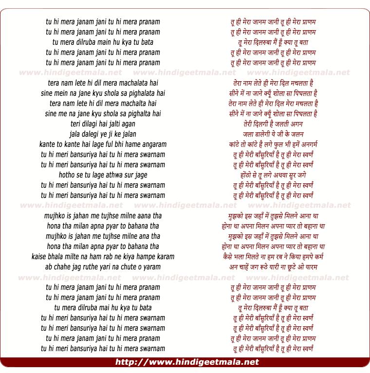 lyrics of song Tu Hi Mera Jaanam
