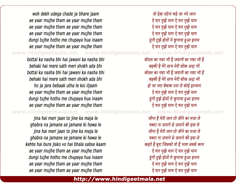 lyrics of song Ae Yaar Mujhe Thaam
