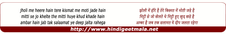 lyrics of song Jholi Me Heere Ho Tere