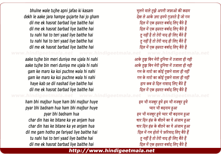 lyrics of song Bhulne Wale Tujhe Apni Jafao Ki Kasam