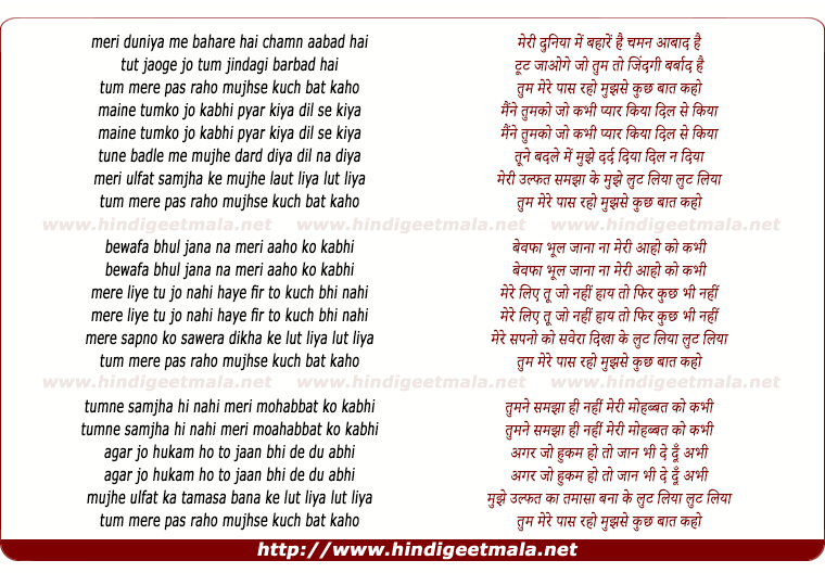 lyrics of song Meri Duniyaa Me Bahare Hai