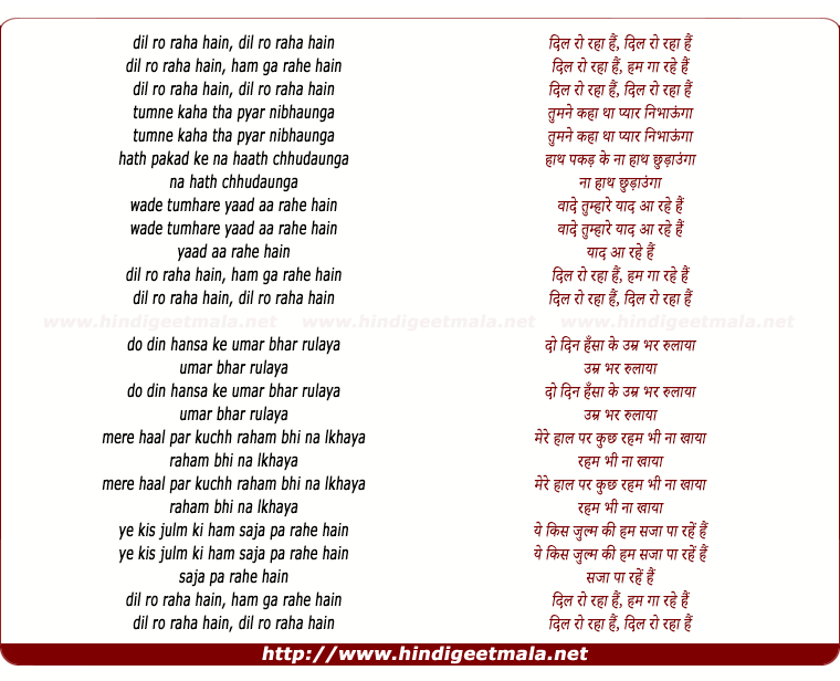 lyrics of song Dil Ro Raha Hai Hum Ga Rahe Hai