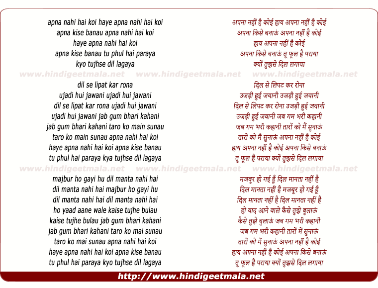lyrics of song Apna Nahi Hai Koi Apna Kise Banau