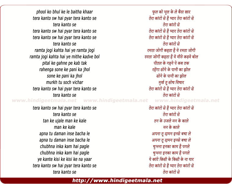 lyrics of song Phool Ko Bhool Ke Le Baitha Khaar