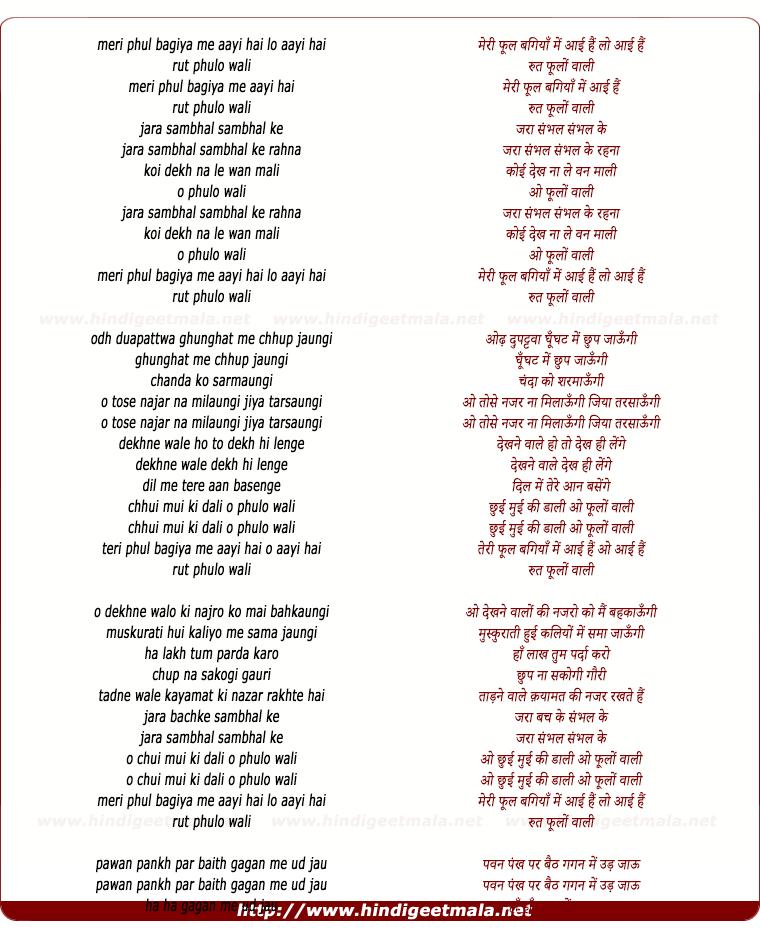 lyrics of song Meri Phool Bagiya Me