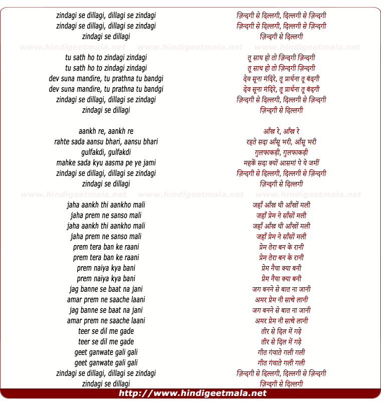 lyrics of song Zindagi Hai Dillagi Dillagi Hai Zindagi